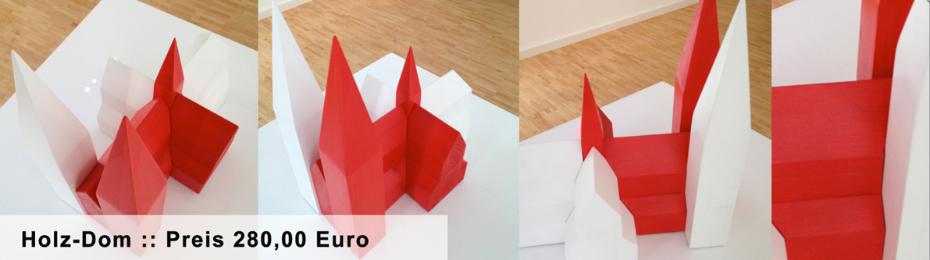 Holz-Dom in der Farbe rot/weiss in dem Format 35cm lang x 35cm hoch x 21cm breit